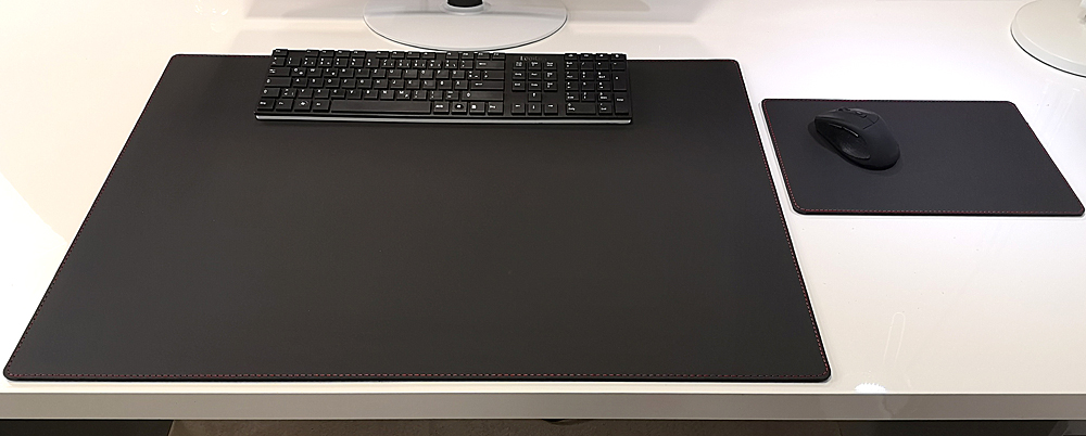 PM Schreibtischunterlage Mauspad Echt Leder Schwarz rote Naht 90x50 Rindsleder